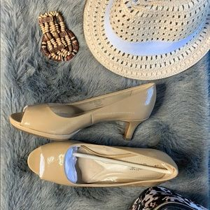 Naturalizer Taupe Open Toe Pumps